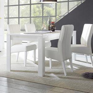 TABLE À MANGER SEULE Table à manger blanc laqué brillant design DOMINOS