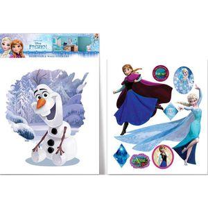 STICKERS Grand sticker Olaf Elsa et Anna La Reine des Neige
