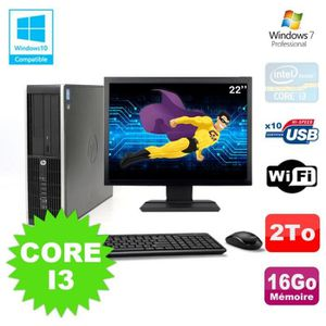 UNITÉ CENTRALE + ÉCRAN Lot PC HP Elite 8200 SFF Core I3 3.1GHz 16Go 2To D