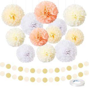 LIHAO 12 Pompons Fleur Papier de Soie Boules /à Suspendre pour D/écoration F/ête Mariage Anniversaire Baby Shower etc 18 Ballons de Baudruche 12 pouce