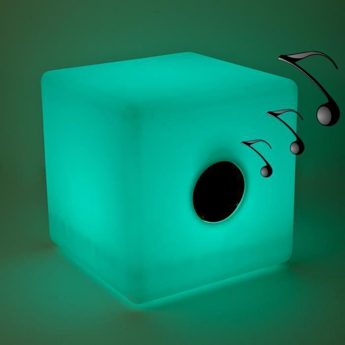Cube LED lumineux - enceinte bluetooth intgre - 40x40 cm