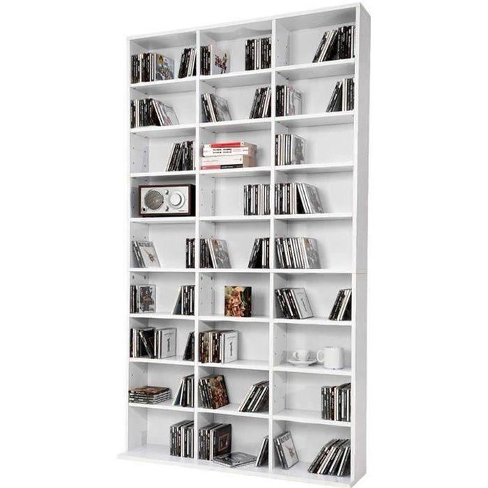 Etagère bibliothèque blanche 102 x 180 x 15 cm (LxHxP)