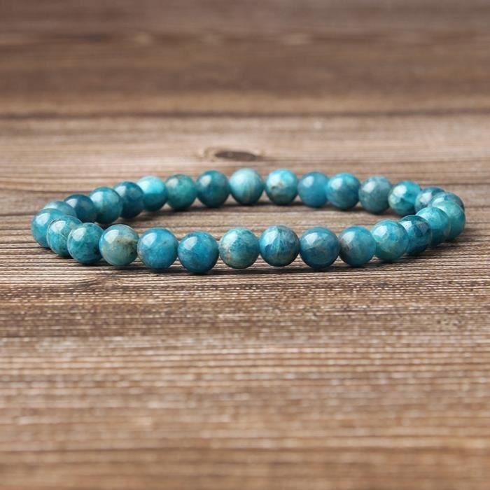 Lingxiang 4-6-8-10 - 12Mm Bracelet Apatite Bleu Naturel Convient Aux Hommes Et Aux Femmes_vert369