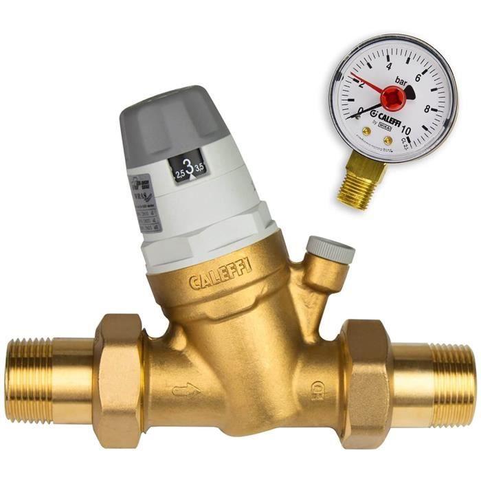 Caleffi Réducteur de pression d'eau 1-2- DN15 Réducteur de pression d'eau avec cartouche remplaçable et manomètre Valve de réduc72
