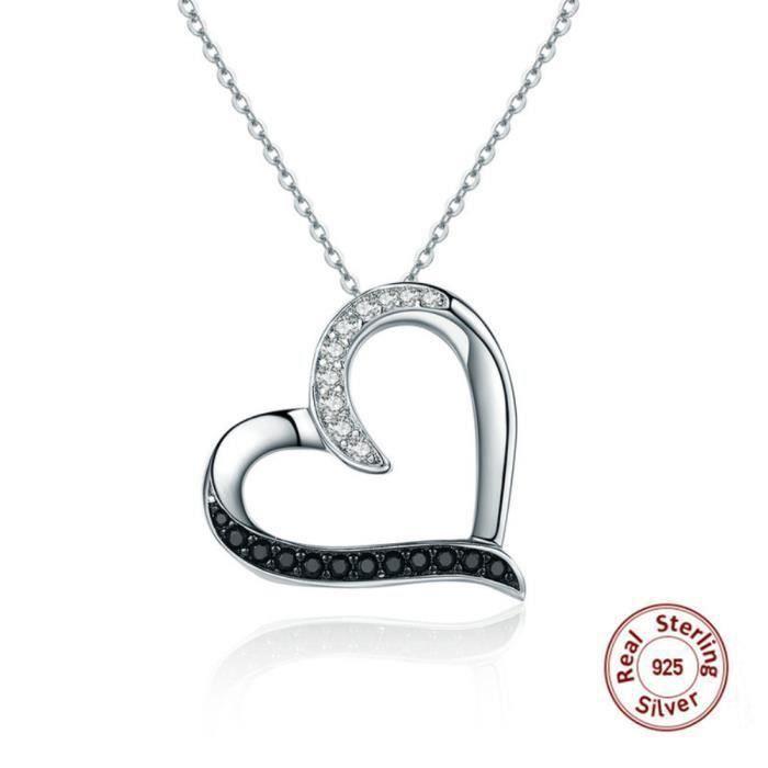 MERRILL Argent 925 Collier Swarovski Elements Cristal Forme du Coeur Pendentif et Chaîne pour femmes aiment pandora Bijoux N13