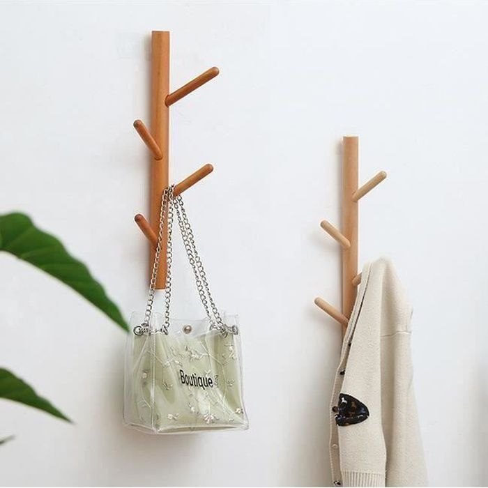 Porte Manteau Mural en Bois de Bambou - Forme d' Arbre - 4 Crochets, lot de 2