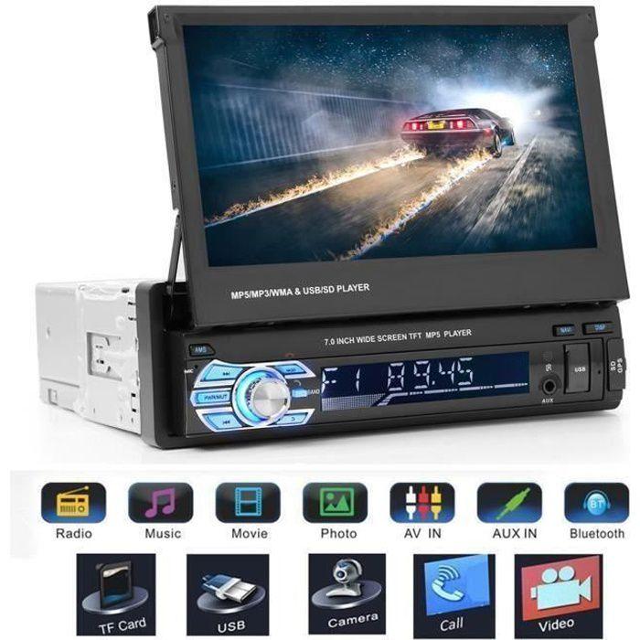 A Autoradio GPS Bluetooth Voiture Navigation rétroviseur MP5 FM l'écran tactile Multimédia Stéréo Caméra de Recul YW6850