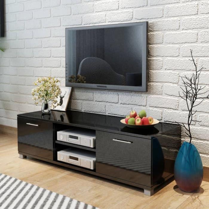 CHEZZOE Meuble TV Design - Meuble de rangement Meuble de Télévision Noir brillant 120 x 40,3 x 34,7 cm ☺59449