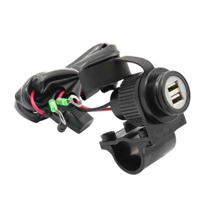 Panneau de chargeur de ports USB double moto avec porte-fusible Boîte de protection étanche à la poussière de moto (noir)