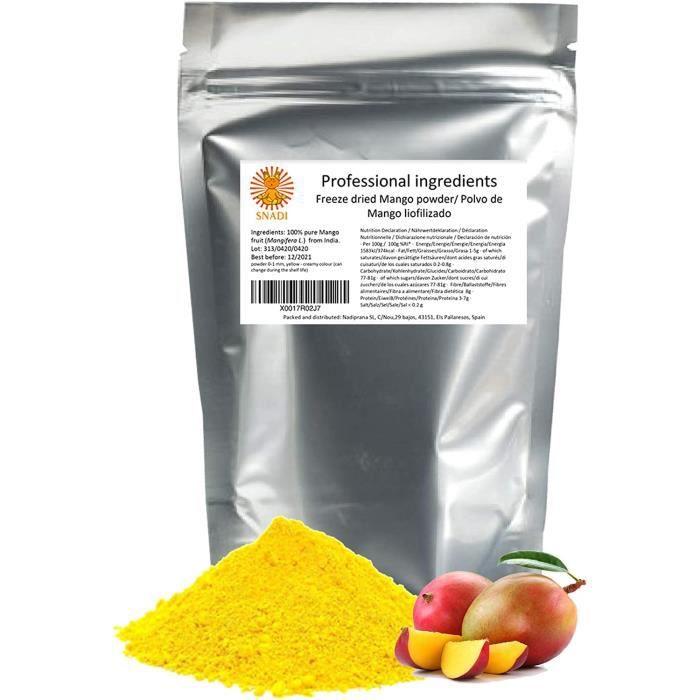 Mangue lyophilisée en poudre x 200 g. Fruits surgelés 100% purs, sans sucre - Sans additifs ni conservateurs. Fibres alimentaires so