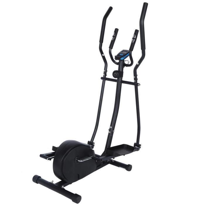 BOS - Vélo elliptique,vélo d'entraînement statique et elliptique, 2 guidons, écran LCD et moniteur de fréquence cardiaque