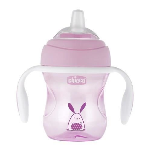CHICCO Tasse Transition bec souple silicone x1 rose 4m+