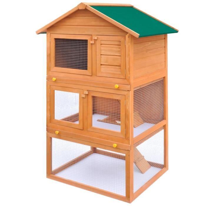 WON-Clapier d'extérieur Enclos pour petits animaux 3 niveaux Bois