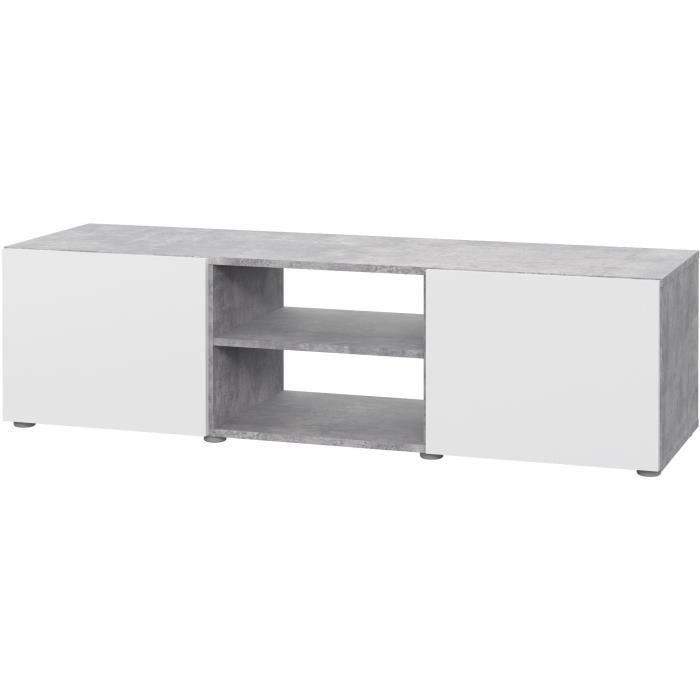 Meuble TV - Blanc et béton gris clair - L 140 x P 42 x H 31 cm - PILVI