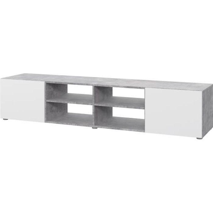 Meuble TV - Blanc et béton gris clair - L 180 x P 42 x H 37 cm - PILVI