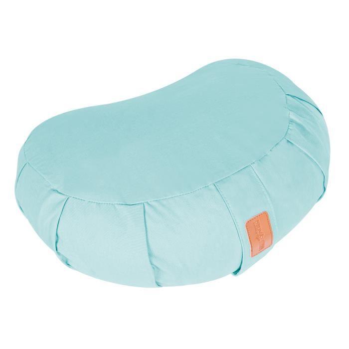Coussin de méditation demi-lune bleu clair - Hauteur d'assise : 19 cm - Coussin de yoga avec rembourrage en balles d'épeautre