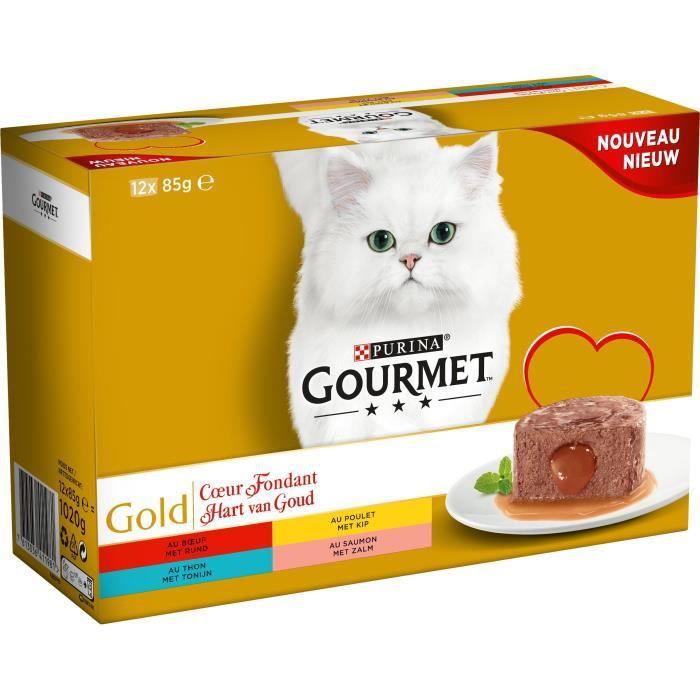 GOURMET Gold - Boîtes Cœur fondant - Pour chat adulte - 12 x 85 g