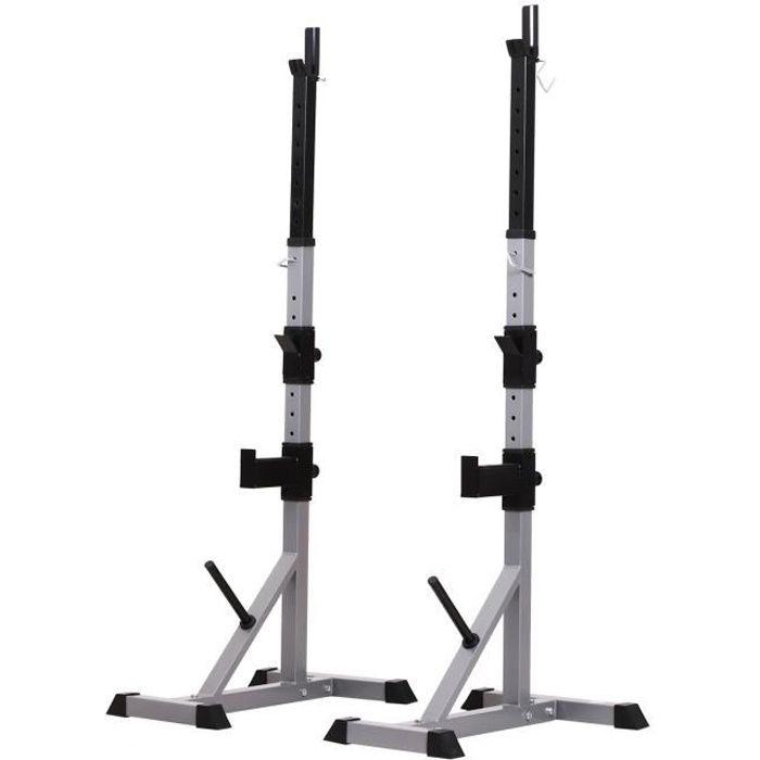 Support de musculation entrainement pour barre d'haltère hauteur réglable charge max. 200 Kg gris et noir
