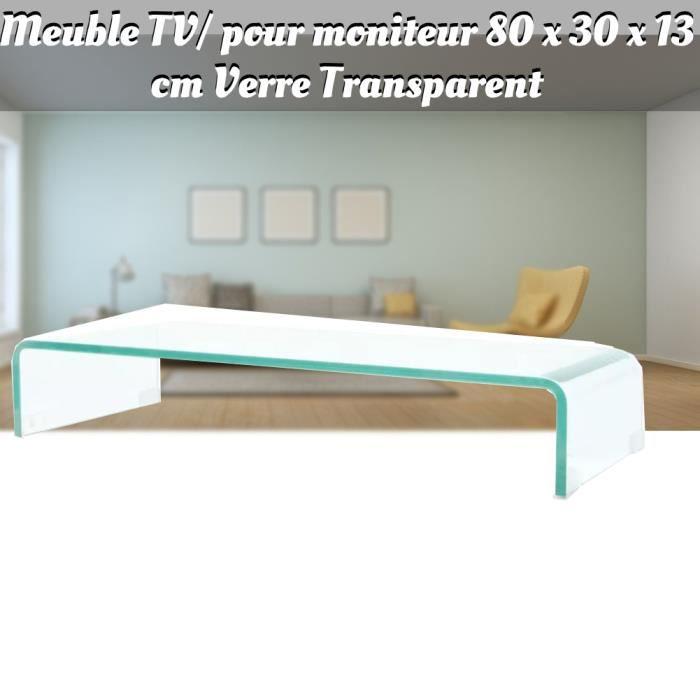 LAM Meuble TV- pour moniteur 80 x 30 x 13 cm Verre Transparent