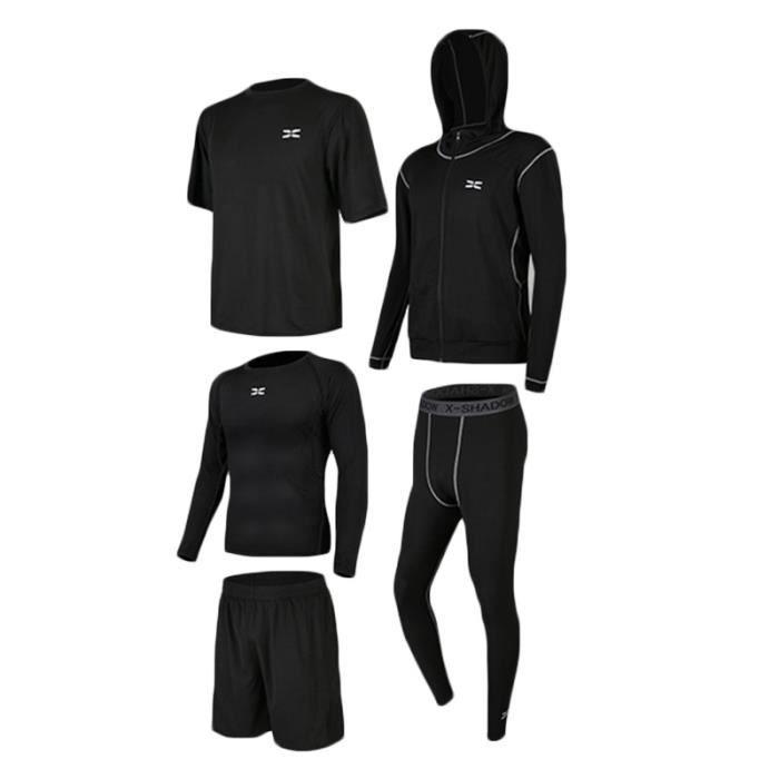Ensemble de Vetement Sport Homme 5 Pieces Pour Sport Fitness Running