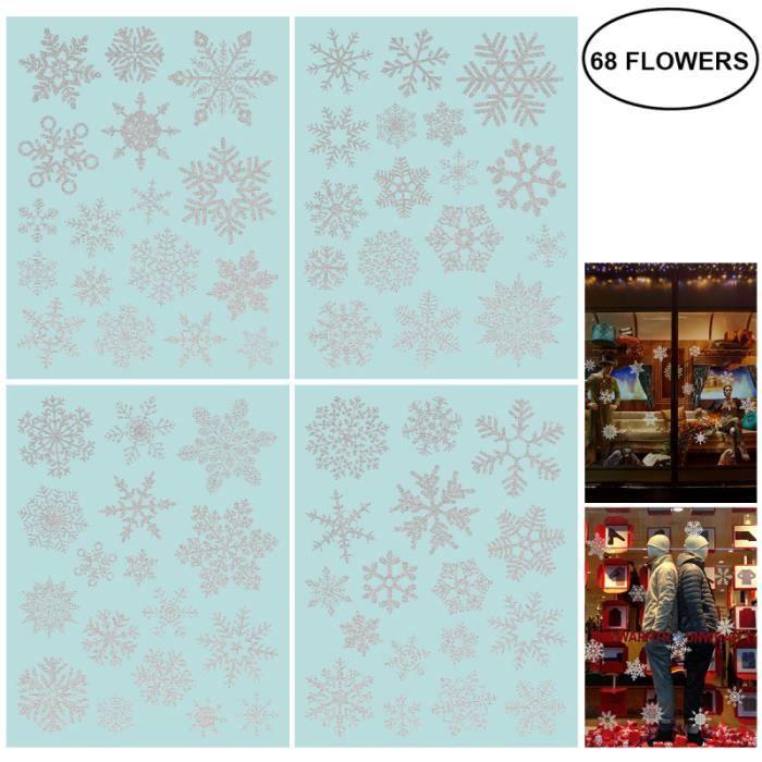 4 feuilles / 68pcs autocollants de Noël de fenêtre décoratifs en PVC pour la maison de PARE-SOLEIL - BANDE SOLAIRE - FILM SOLAIRE