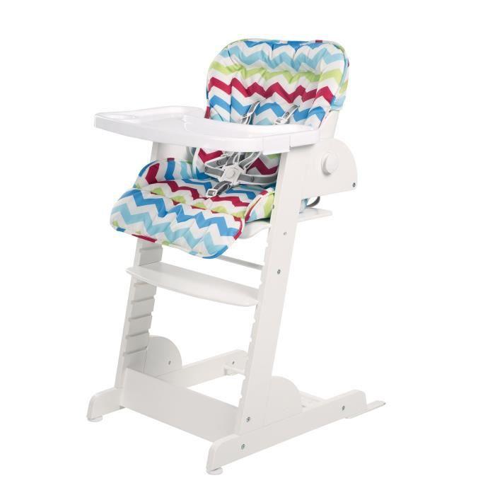 ROBA Chaise haute évolutive -Chill Up- avec fonction d'inclinaison, qui grandit, en bois blanc
