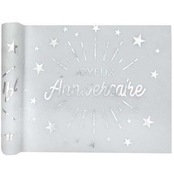 R/6646 - 1 Chemin de table joyeux anniversaire blanc et argent métallique 5m