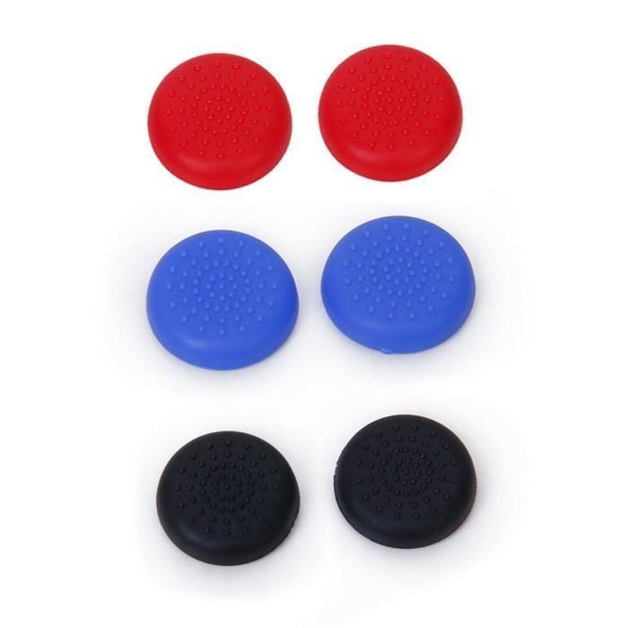3 Paires de Bouchons Capuchons de Joystick Thumbstick en Plastique pour Manette PlayStation 4 PS4 - Noir+Bleu+Rouge