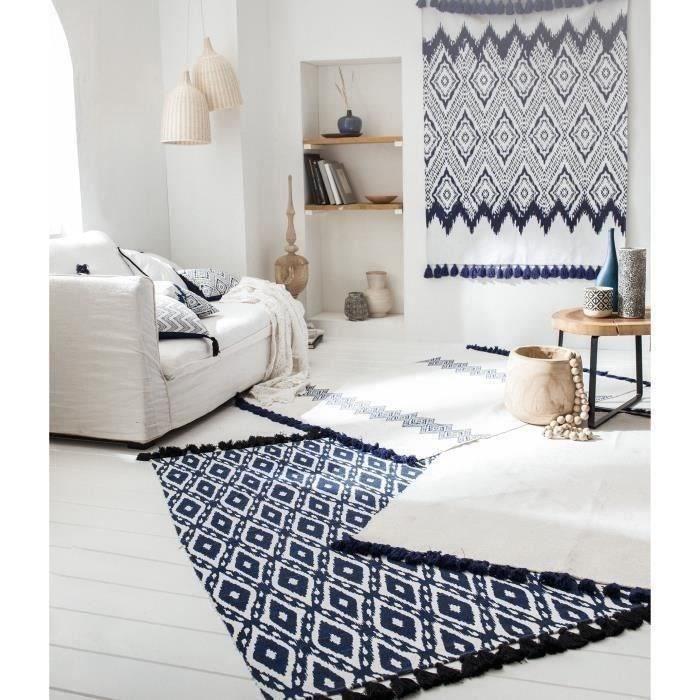 TODAY Tapis de salon Atmosphère 100% coton - 120x170 cm - Blanc et bleu