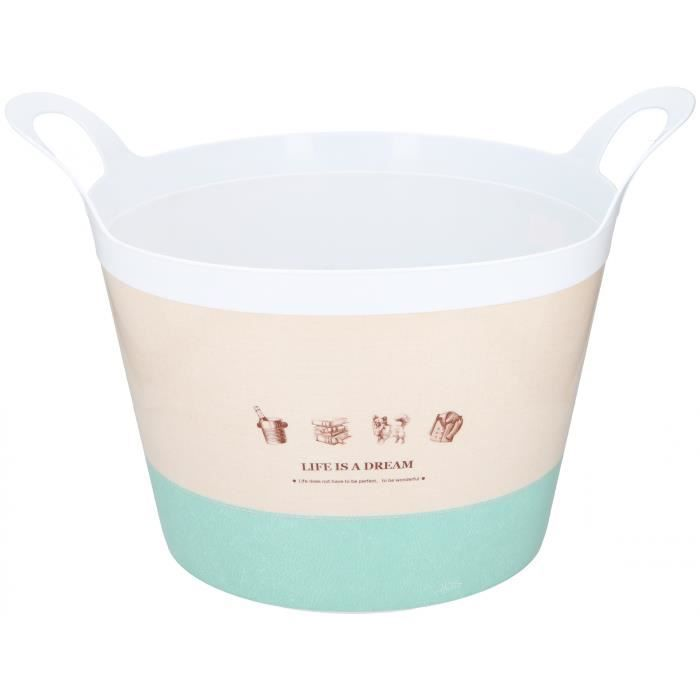 TOM panier de stockage 30 litres de polyéthylène blanc/beige/vert