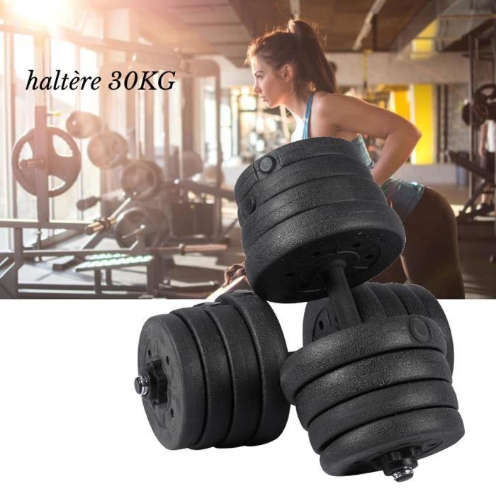 30KG Haltères de l'exercice Musculation Gym Entraînement Biceps Triceps Poids libres L00279
