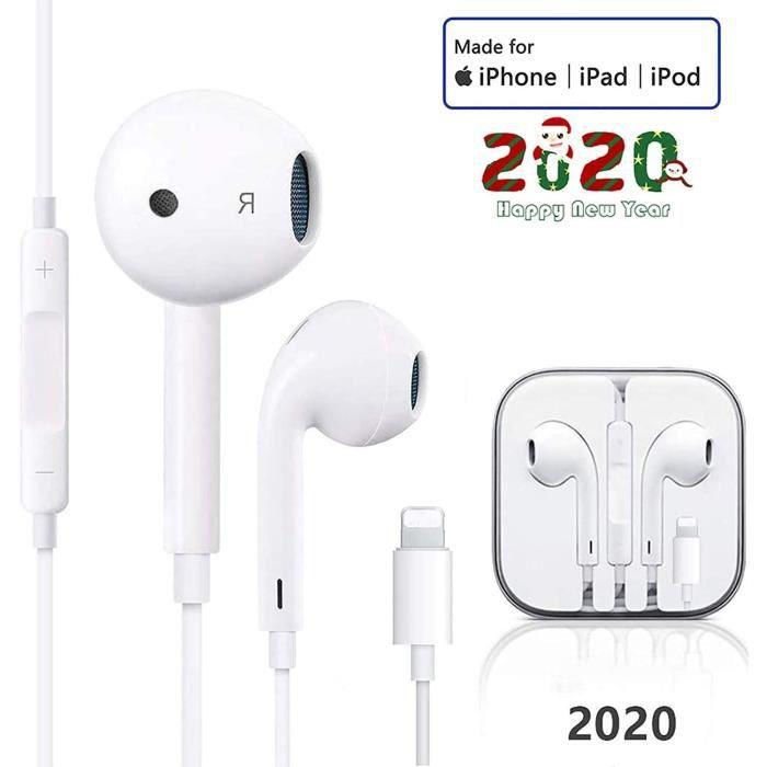 /Écouteurs Intra-Auriculaires pour iPhone 11,/Écouteurs filaires Bluetooth Casque avec Microphone et contr/ôle du Volume Compatible avec Les /écouteurs iPhone 7//8//Plus//X//XR//XS//Max//11//11Pro-blanc