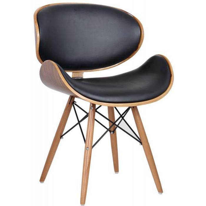 chaise de bureau salon salle manger style r tro eames dsw simili cuir noir avec pieds en. Black Bedroom Furniture Sets. Home Design Ideas