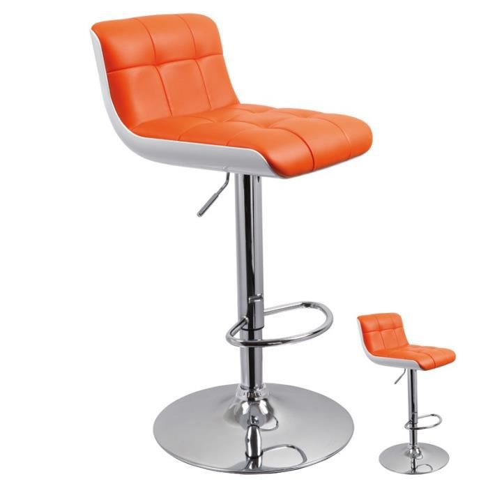Duo de tabourets de bar pu orange jenny achat vente tabouret de bar sim - Tabouret bar cdiscount ...