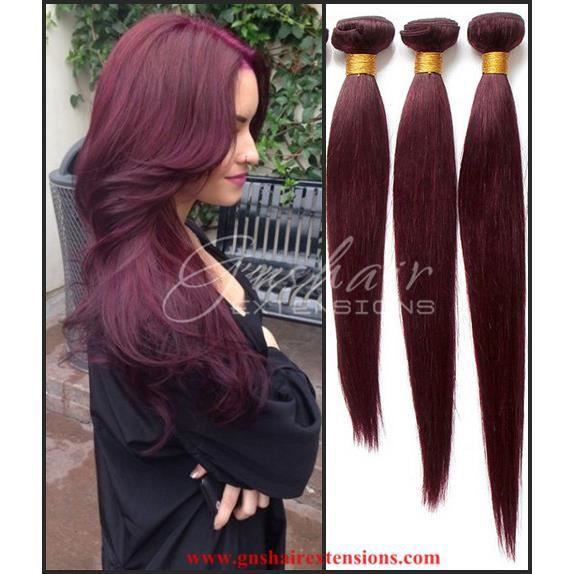 3 tissages cheveux br silienne 18 20 22 pouces rouge - Tie and dye rouge maison ...