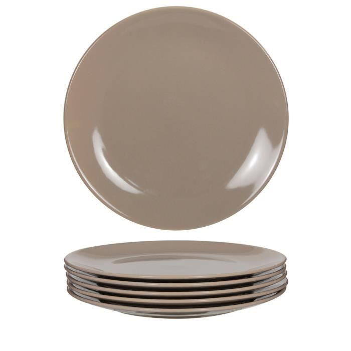 6 assiettes plates taupe achat vente service complet cdiscount. Black Bedroom Furniture Sets. Home Design Ideas