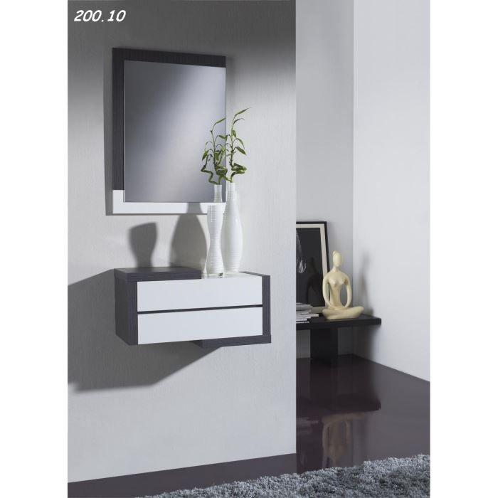 console avec miroir vulka 10 10 cendr blanc achat vente console console avec miroir. Black Bedroom Furniture Sets. Home Design Ideas