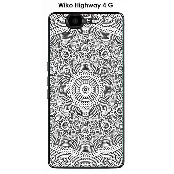 Coque Wiko Highway 4G design Mandala rosace