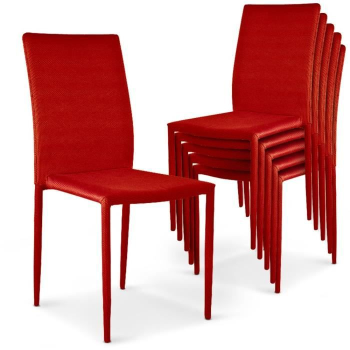 Lot de 6 chaises empilables sheffield rouge achat - Lot de 6 chaises ...