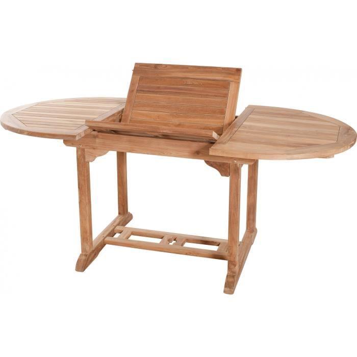 Table de jardin ovale extensible 120 - 180 cm en bois de ...