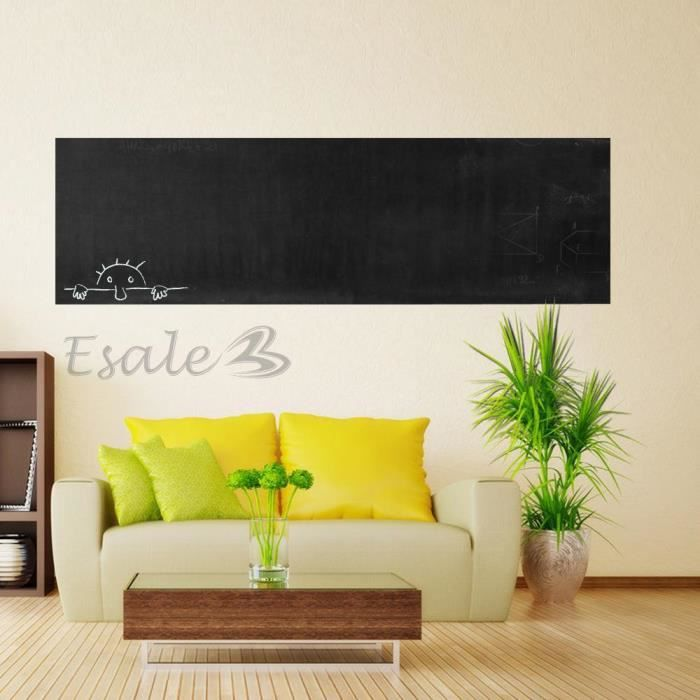 sticker autocollant mural tableau noir blackboard 60x200cm 4 craie achat vente stickers. Black Bedroom Furniture Sets. Home Design Ideas