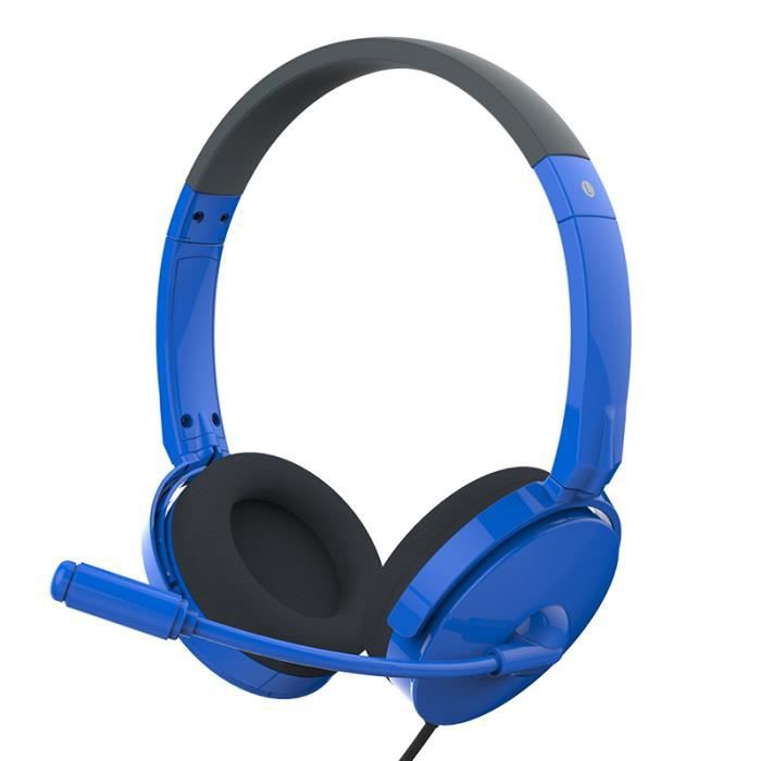 dostyle hs201 casque avec micro stereo couteur pour ordinateur coussins pivotants bleu laser. Black Bedroom Furniture Sets. Home Design Ideas