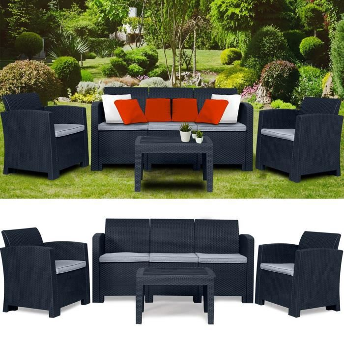 salon de jardin 5 places achat vente salon de jardin 5 places pas cher soldes d s le 10. Black Bedroom Furniture Sets. Home Design Ideas