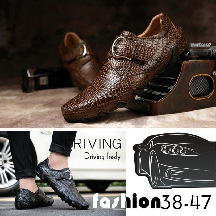 SLIP-ON Doux hommes en cuir Slip-on Chaussures Mode Chauss