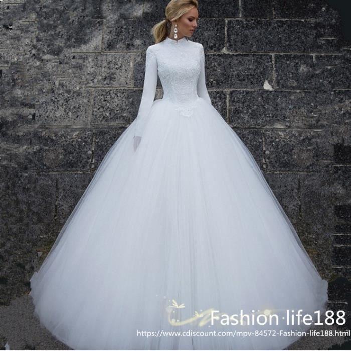 ROBE DE MARIÉE Col haut manches longues Princesse Blanc robe de m