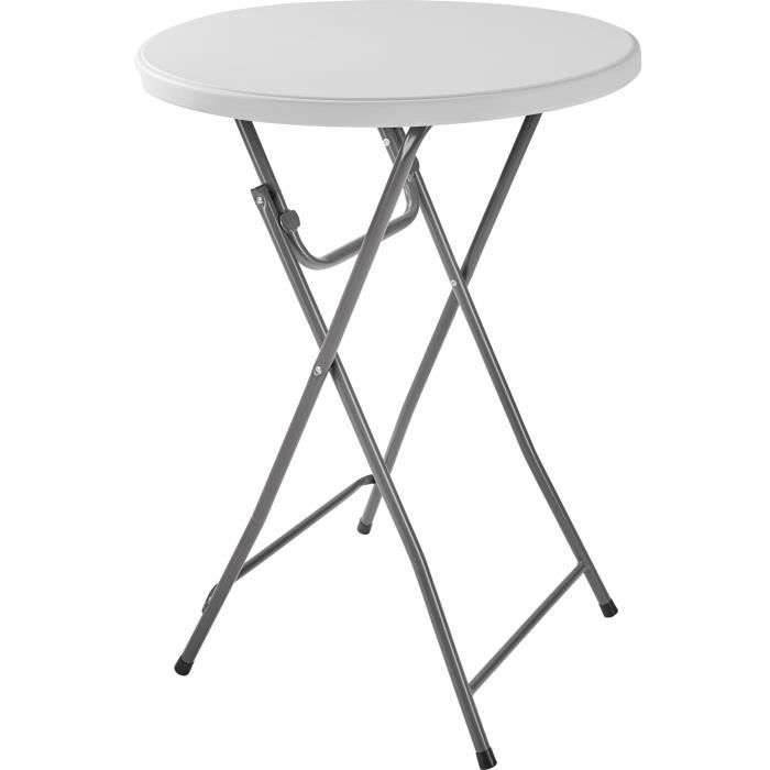 Lot de 4 Tables Hautes • Pliable • en MDF Blanc Aspect Bois ...