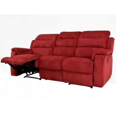 canap 3 places relax en microfibre simono rouge achat. Black Bedroom Furniture Sets. Home Design Ideas