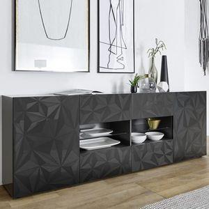 BUFFET - BAHUT  Enfilade gris laqué design 2 portes 4 tiroirs NINO