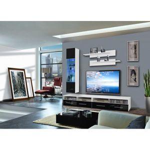 MEUBLE TV MURAL Ensemble meuble TV mural - 1 vitrine LED - Clevo V