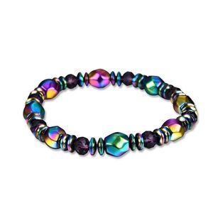 BRACELET - GOURMETTE Unisexe Mode Multicolore Magnetique Bracelet Perle